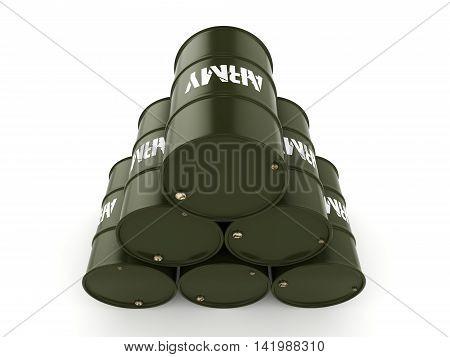 3D Rendering Army Barrels