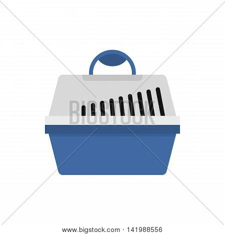 Plastic pet carrier icon in flat style on a white background