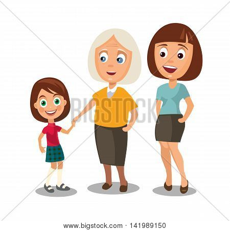 Set generations woman different ages from child to grandmother. Color flar vector illustration isolated on white background