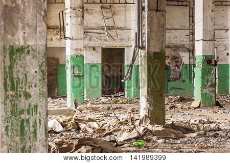 Old abandon hall of paperworks in Kalety - Poland Silesia province Europe.