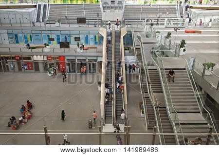 PARIS, FRANCE - AUGUST 5, 2016: People on the escalators of Forum des Halles in Paris, France