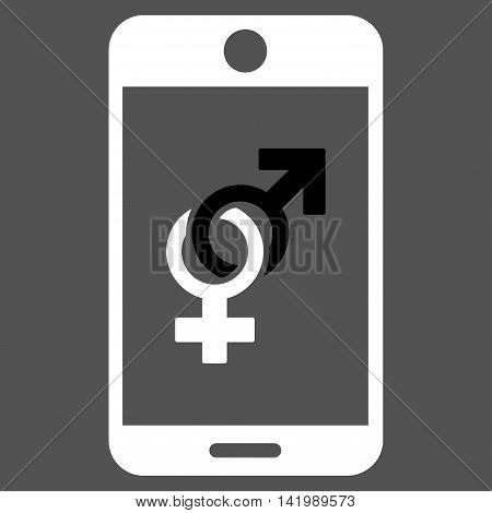 Mobile Dating vector icon. Style is bicolor flat symbol, black and white colors, rounded angles, gray background.