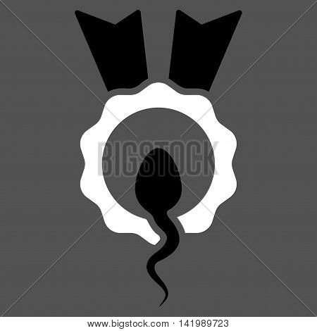 Sperm Winner vector icon. Style is bicolor flat symbol, black and white colors, rounded angles, gray background.
