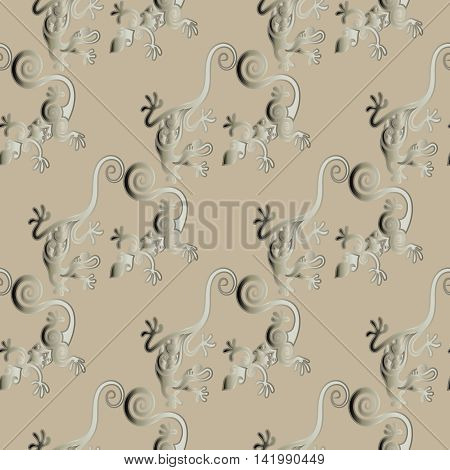 Stylish modern vector seamless patter illustration  with elegant decorative vintage lizards  on the light brown background.Luxury ornate 3d decor elements with shadow and highlights