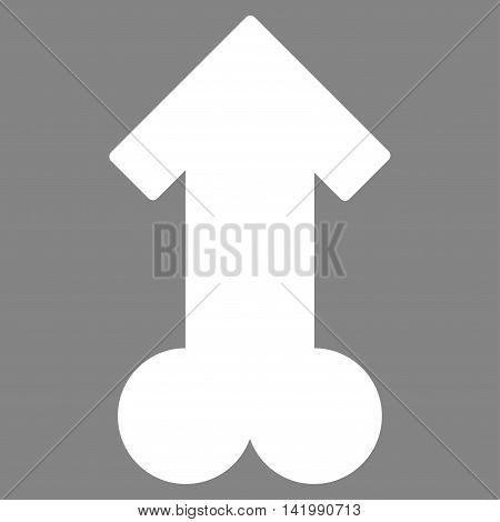 Male Sexual Potence vector icon. Style is flat symbol, white color, rounded angles, gray background.