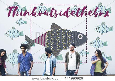 Individuality Unique Different Fish Graphic Concept