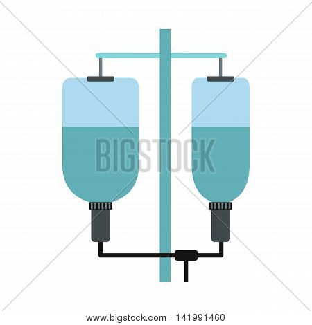 Hospital IV drip icon in flat style on a white background
