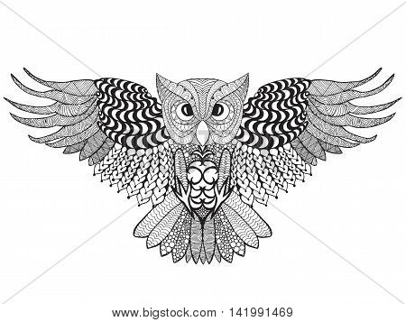 Eagle owl. Adult antistress coloring page. Black white hand drawn doodle animal. Ethnic patterned vector. African indian totem tribal zentangle design. Sketch for tattoo poster print t-shirt