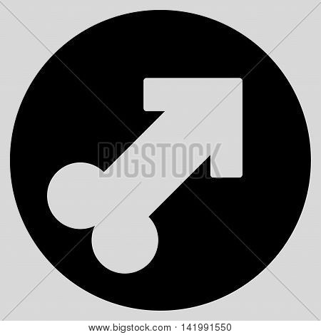 Erection vector icon. Style is flat symbol, black color, rounded angles, light gray background.