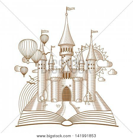 World of tales, fairy castle appearing from the old book, cartoon vector illustration. Mono line art