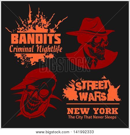 Set of gangser and bandits emblems, labels, badges, logos. Monochrome graphic style