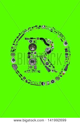 Trade Mark icone with auto parts for car. Spare parts for car for shop, aftermarket OEM. Many auto parts isolated in Trade Mark icone. Auto parts isolated on green screen, chroma key