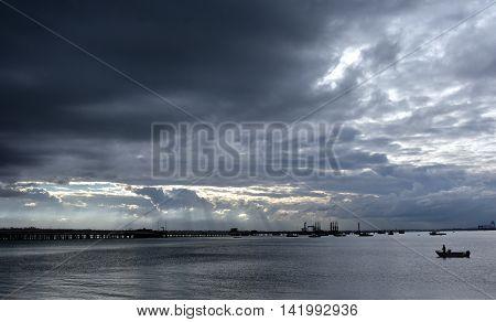 Botany Bay on a stormy day. View from Bonna Point (Kurnell, Sydney, Australia)