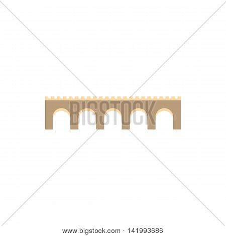 Stone arch bridge icon in flat style on a white background
