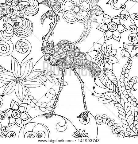 Flamingo in fantasy flower garden. Animals. Hand drawn doodle. Ethnic patterned illustration. African indian totem tatoo design. Sketch for avatar tattoo poster print or t-shirt.