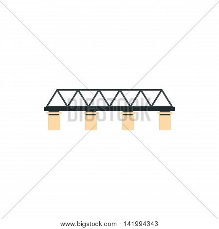 Truss bridge icon in flat style on a white background