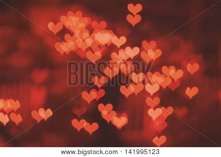 Abstract colourful heart bokeh background. Valentine's day.