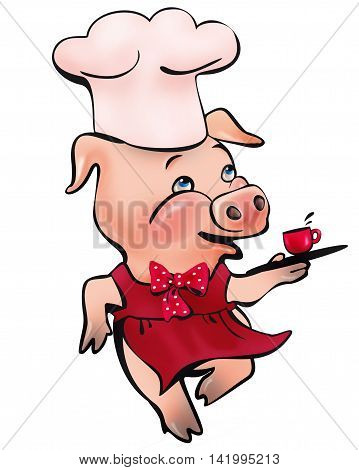 running pig with a tray and a cup of coffee