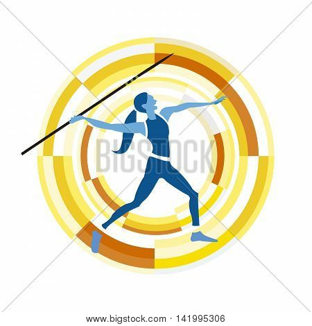 woman figure throwing the javelin. Sports disciplines character on a circular background.