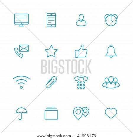 bussines line vector blue icons set of 16