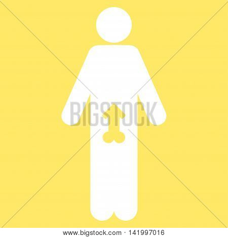 Male Potence vector icon. Style is flat symbol, white color, rounded angles, yellow background.