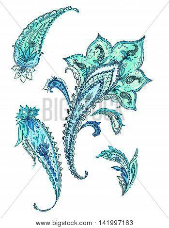 set of stylish detailed paisleys. Indian, Persian traditional motif on white background.
