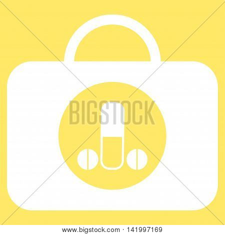 Male Sexual Toolbox vector icon. Style is flat symbol, white color, rounded angles, yellow background.