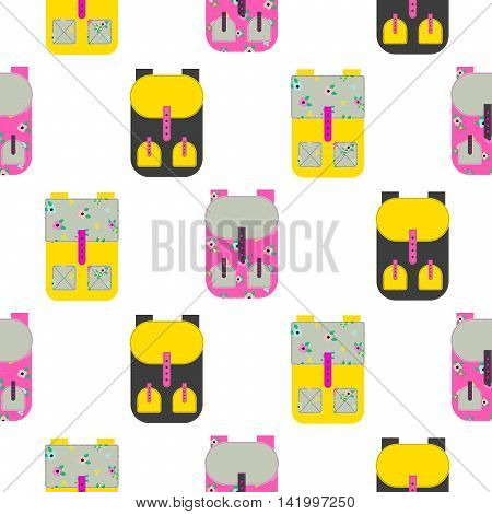 Backpack seamless white vector pattern. Yellow and pink rucksack background.