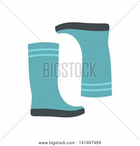 Blue rubber boots icon in flat style on a white background