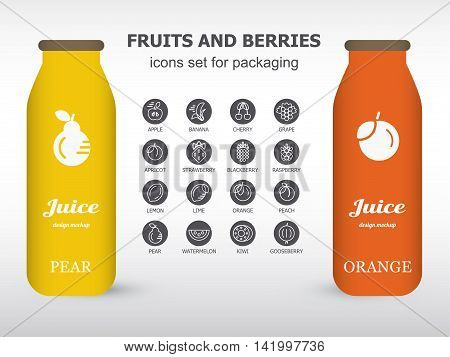 Bottle of juice, sugar water, tea or cocktail with drawing pear and orange. Isolated on the white background. Concept design for juice or cocktail. Product packaging mockup.