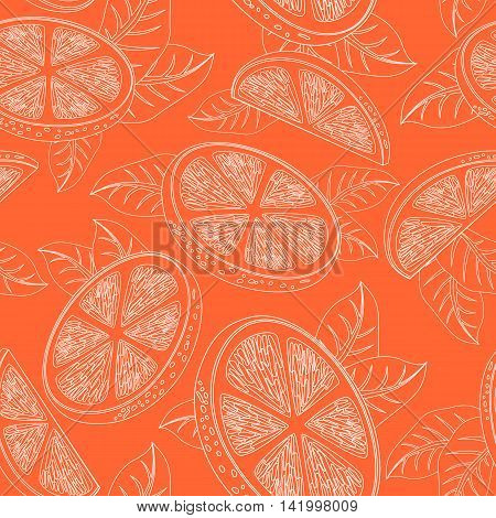Seamless pattern with orange fruits and leaves. Hand Drawn Monochrome Orange Texture Decorative Leaves Coloring Book . Vector illustration.