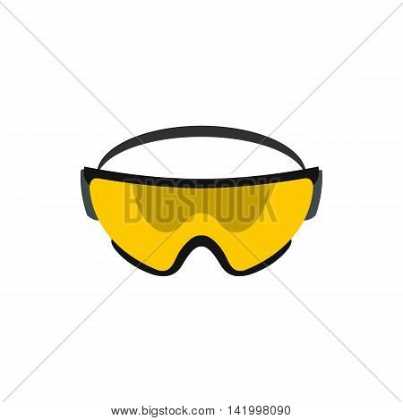 Yellow safety glasses icon in flat style on a white background