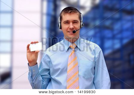 businessman with card on business architecture background