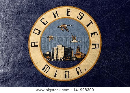 Flag Of Rochester, Minnesota, Usa, Painted On Leather Texture