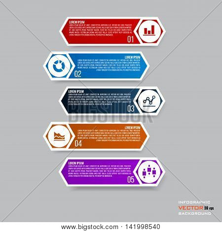 Infographic design with 5 parts steps or processes