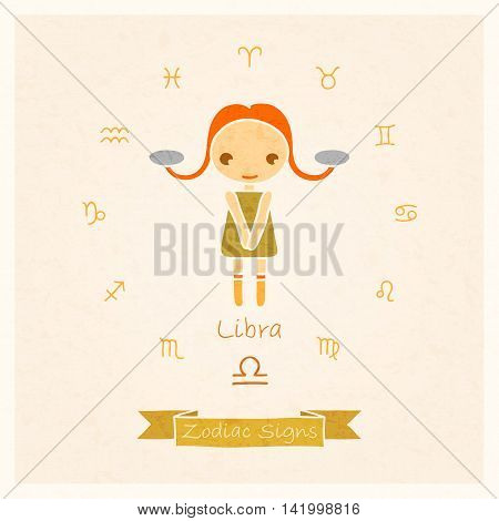 vector illustration of Libra zodiac sign with texture of paper