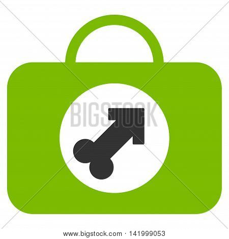 Male Erection Case vector icon. Style is bicolor flat symbol, eco green and gray colors, rounded angles, white background.