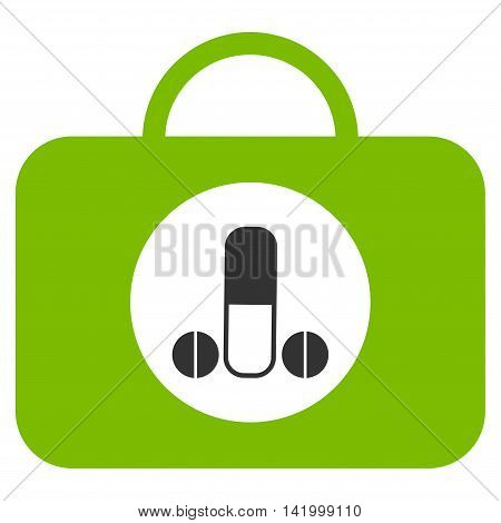 Male Sexual Toolbox vector icon. Style is bicolor flat symbol, eco green and gray colors, rounded angles, white background.