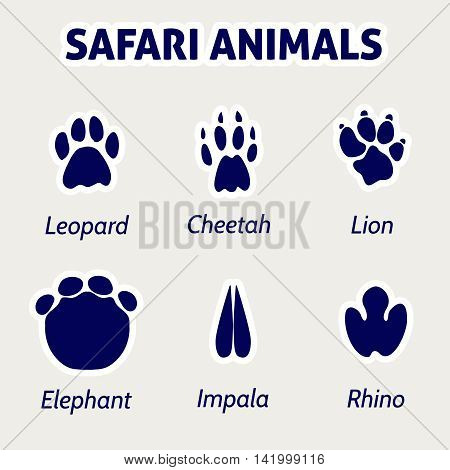 Safari animals footprint blue coclor stickers. Vector illustration