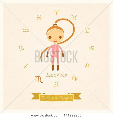 vector illustration of Scorpio zodiac sign with texture of paper