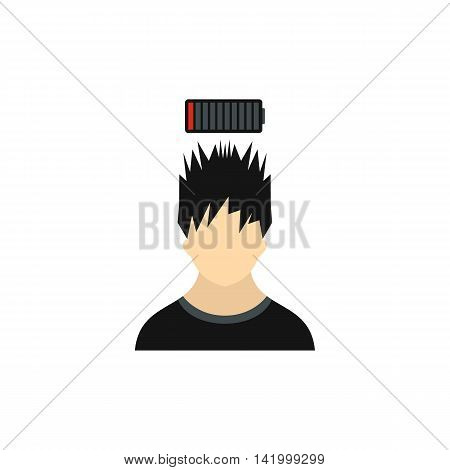 Man with low power battery over his head icon in flat style on a white background
