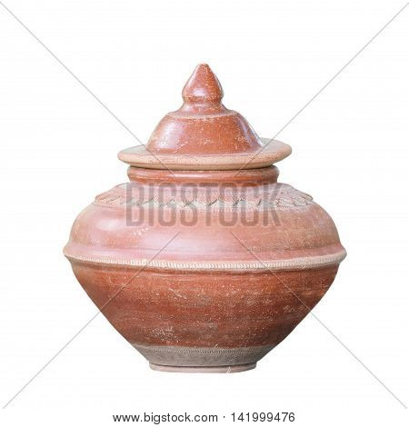 The Old Clay pot on white background