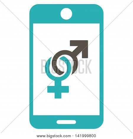 Mobile Dating vector icon. Style is bicolor flat symbol, grey and cyan colors, rounded angles, white background.