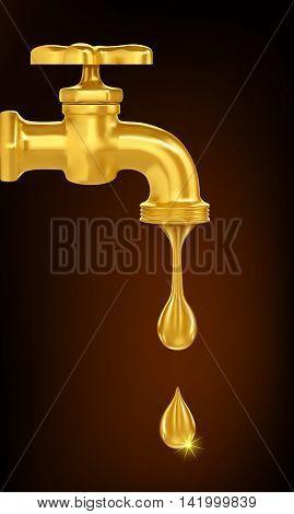 Golden tap with golden drop.  vector illustration.