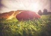 a brown american football lying on green grass in a field with a hill and trees in the background to poster