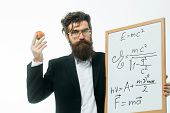 Bearded Man With Einstein Formula And Newtons Law poster