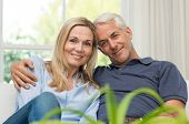 Romantic senior couple sitting on a sofa and looking at camera. Portrait of a mature couple enjoying poster