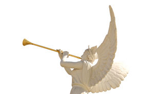 stock photo of angel-trumpet  - The statue of the angel with golden trumpet  - JPG