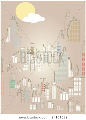 Abstract Rising Cityscape Bright Simple Sun Cloud