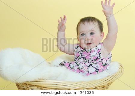 Happy Baby Raising Hands
